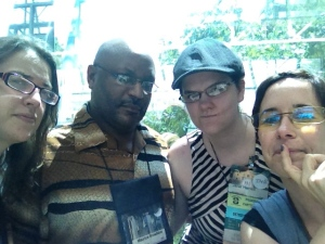 Kelly Lagor, Maurice Broaddus, Janet Harriet, and me.
