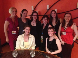 Pre-Hugos dinner with Kristene Perron, Nicole Feldringer, Kelly Lagor, Sandra Wickham, Rhiannon Held, Lauren Teffau, and Sara Mueller.