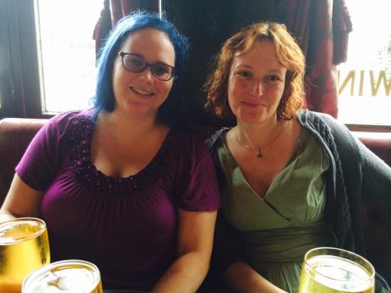 Beautiful, wise friends Julia Rios and Mary Robinette Kowal (image courtesy Julia's camera but I think I took it.)
