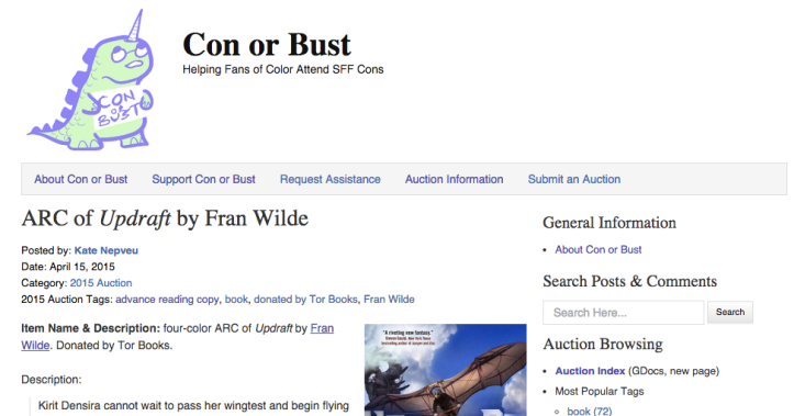 Con or Bust helps send fans of color to conventions! Go Bid Go Bid!