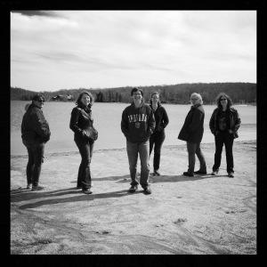 Outside, the band photo