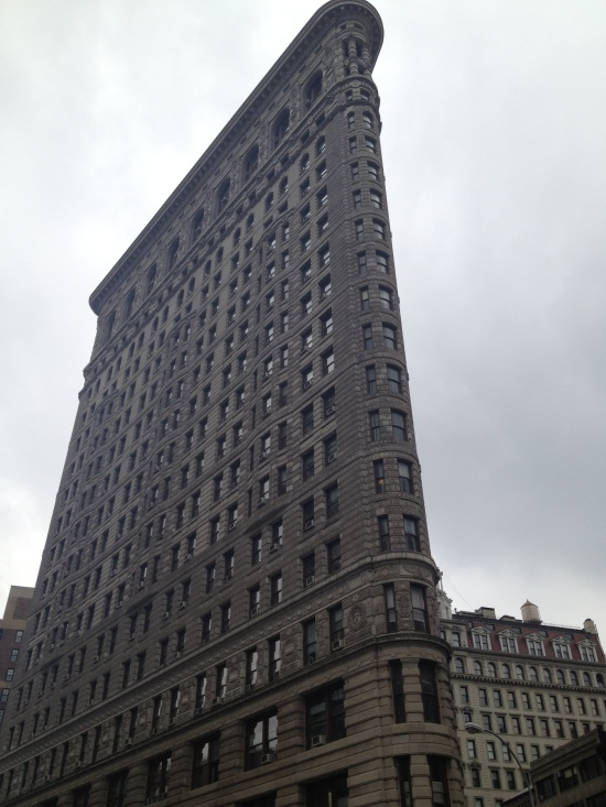 The Flatiron against a steel sky.