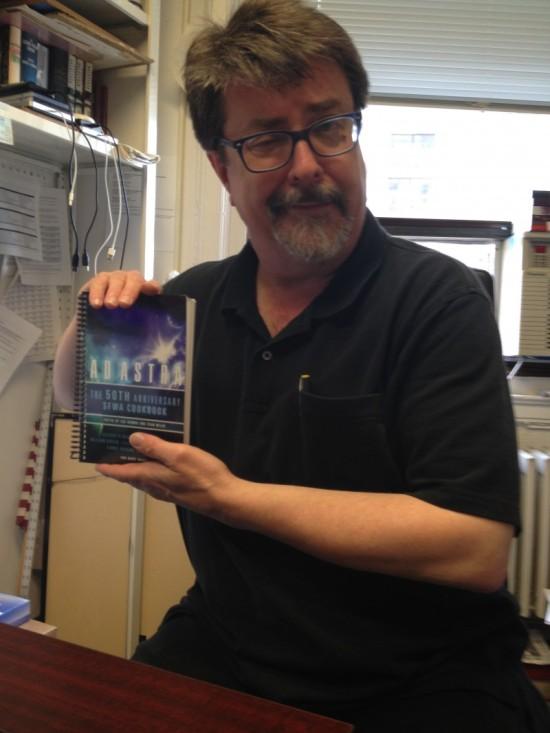 """Patrick Nielsen Hayden holds his and Teresa Nielsen Hayden's author copy -- for """"Scurvy Cure"""""""