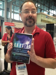 Scalzi, holding The Cookbook (I know, a lot of cookbook photos, but this thing is awesome. You should see it!)