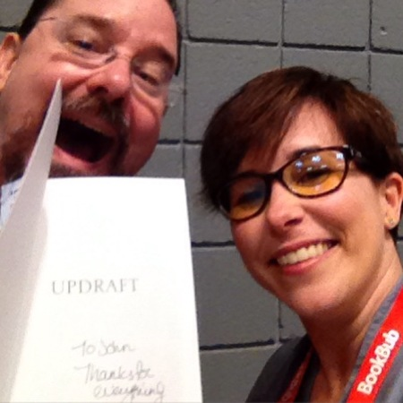 Scalzi had me autograph a copy of UPDRAFT for him! SUCH a nice guy.