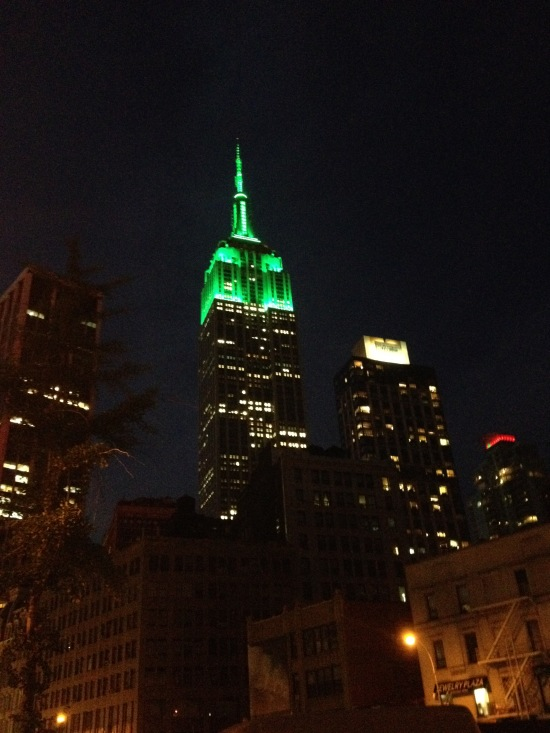 The Empire State Building turned green...