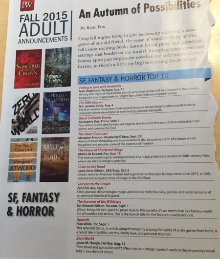 PWs Fall 2015 SF, Fantasy, and Horror Top 10 list