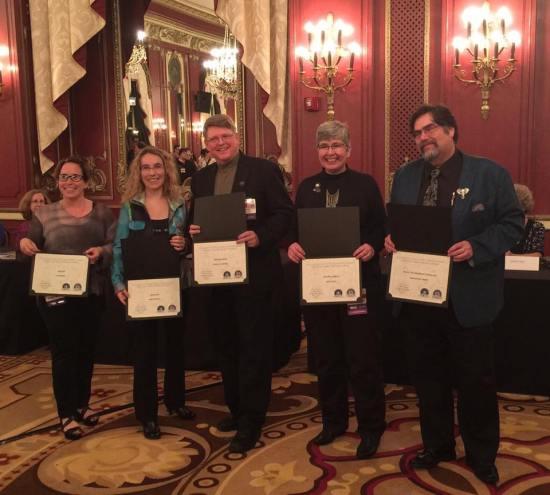 Nebula nominees for Best Novel - N.K. Jemisin, Ken Liu (not pictured), Fran Wilde, Naomi Novik, Chuck Gannon, Anne Leckie, Lawrence M. Schoen
