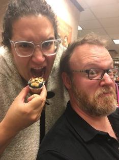 Carmen Machado dares a Chuck Wendig cupcake