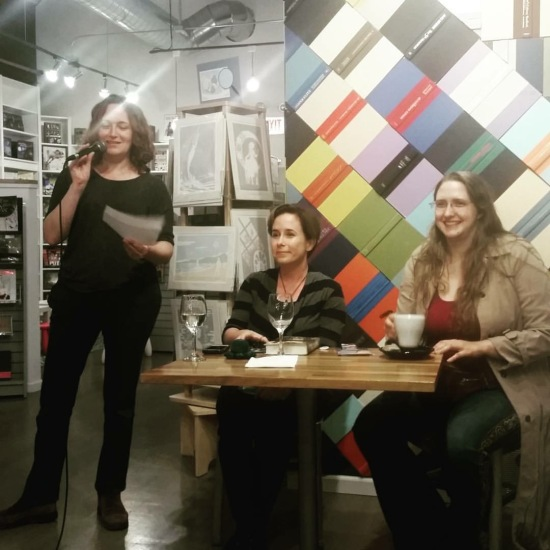 Mary Robinette Kowal introduces Fran Wilde and Ada Palmer at Volumes Bookcafe. Photo: Michi Trota